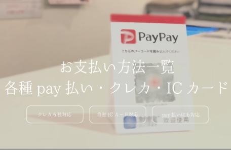 明大前駅近整骨院・鍼灸院ではpaypay、linepay、merpay、alipay、クレジット支払い、自社ICカード支払いと様々な支払い方法を完備しておりますので、お気軽にご利用ください。